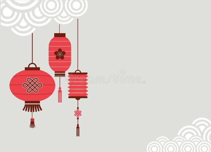 Kinesisk bakgrund för nytt år med lyktor stock illustrationer