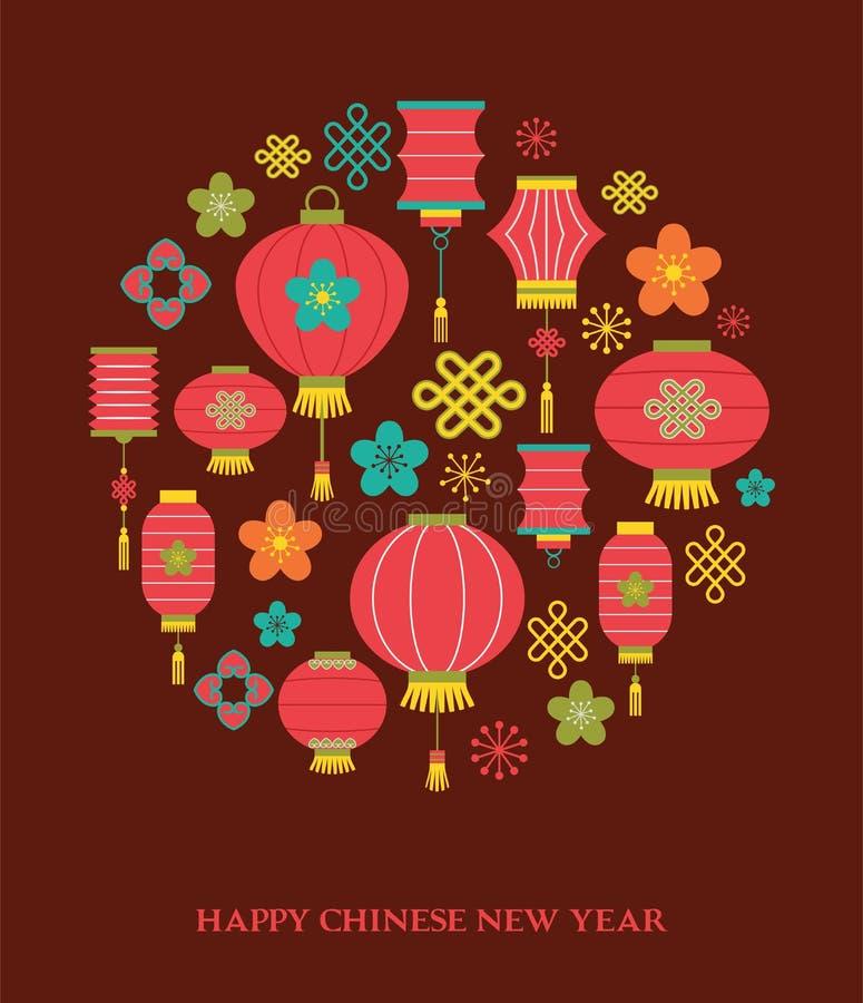 Kinesisk bakgrund för nytt år med lyktor