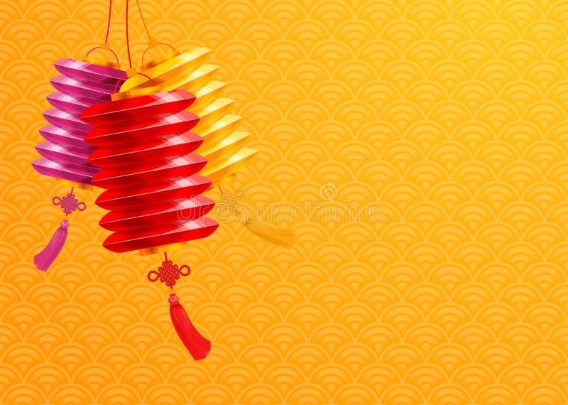 Kinesisk bakgrund för pappers- lyktor stock illustrationer