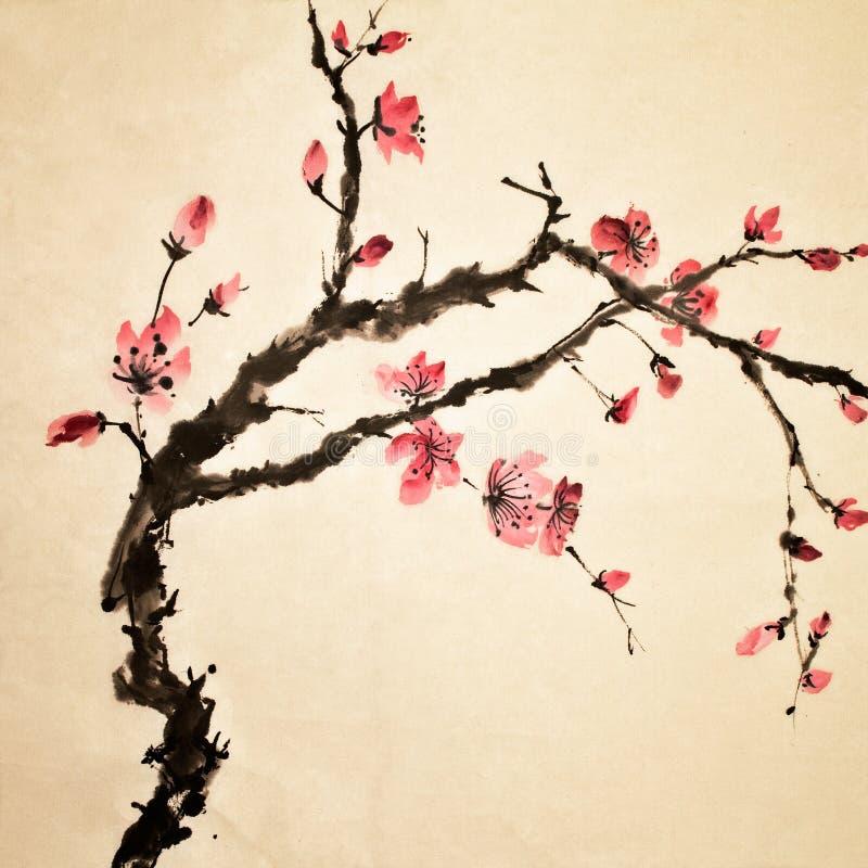 kinesisk blomma stock illustrationer