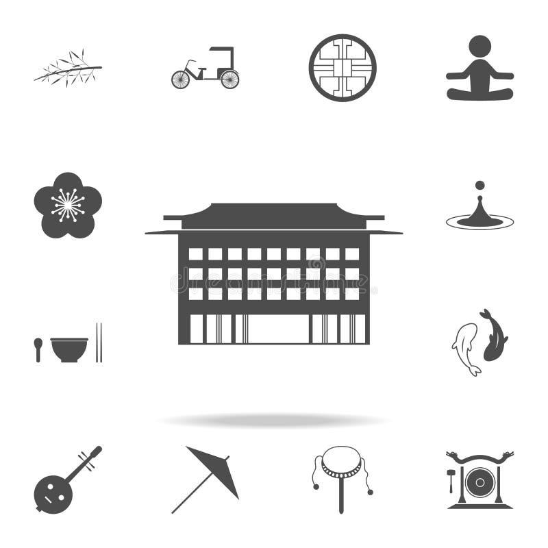 Kinesisk byggnadssymbol Uppsättning av kinesiska kultursymboler Högvärdig kvalitets- grafisk design för rengöringsduksymboler Tec stock illustrationer