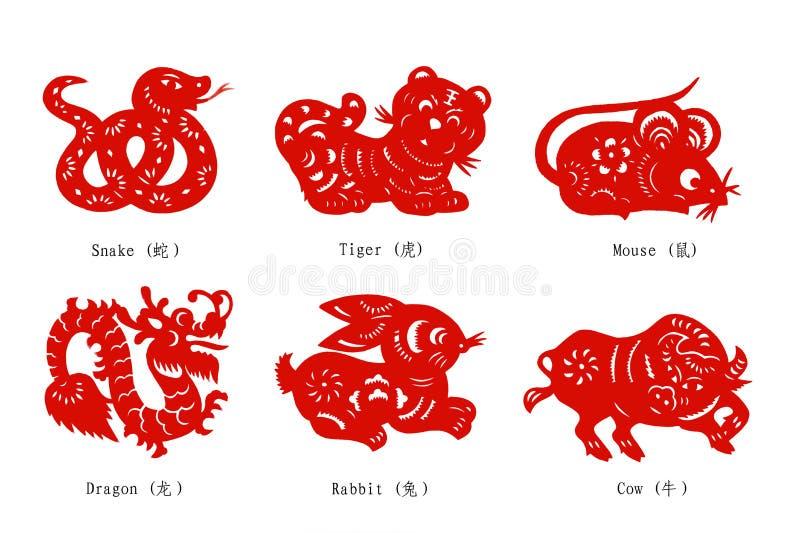 kinesisk cuttingpapperszodiac vektor illustrationer