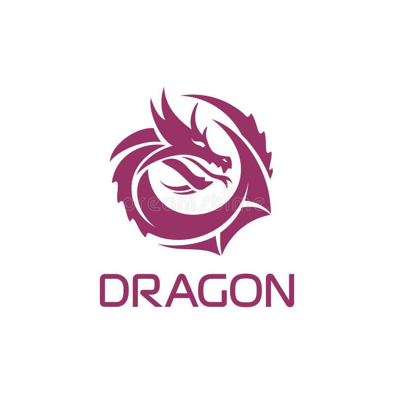 Kinesisk drake för purpurfärgad vektor i en cirkelform vektor illustrationer