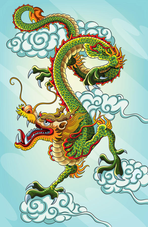 kinesisk drakemålning stock illustrationer
