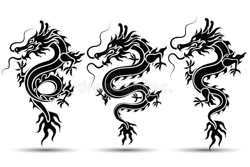 Kinesisk drakevektor royaltyfri illustrationer