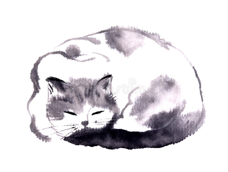 Kinesisk färgpulverhandmålning av katten royaltyfri illustrationer