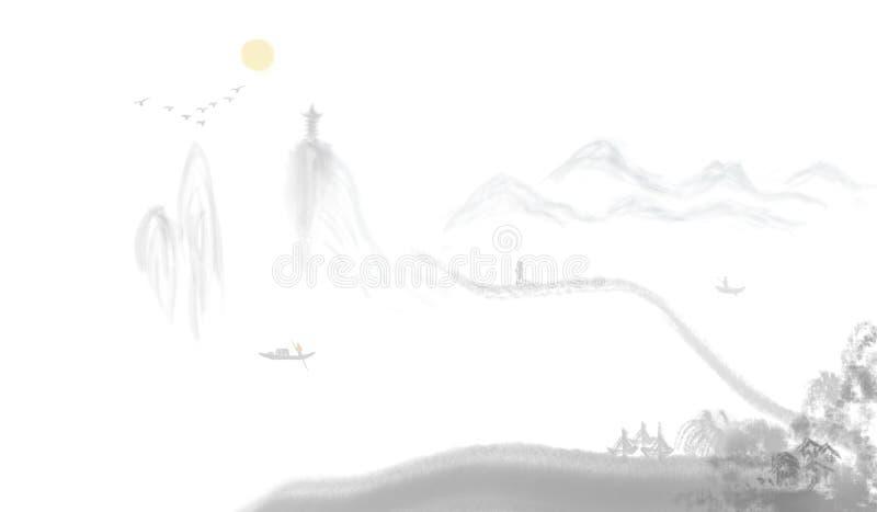 Kinesisk färgpulvermålning för avlägset berg vektor illustrationer
