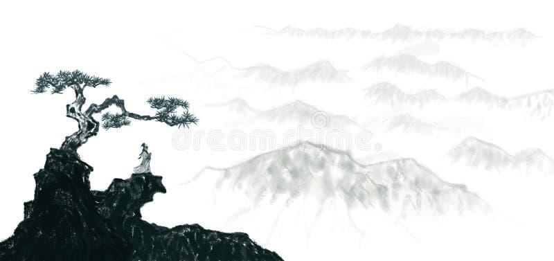 Kinesisk färgpulvermålning för högt konstnärligt landskap stock illustrationer