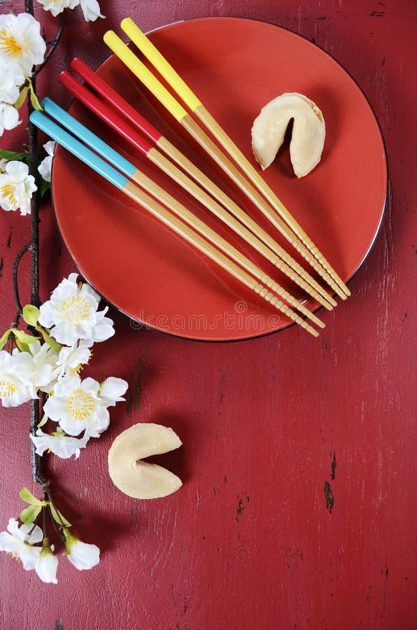 Kinesisk för berömparti för nytt år tabell royaltyfria foton