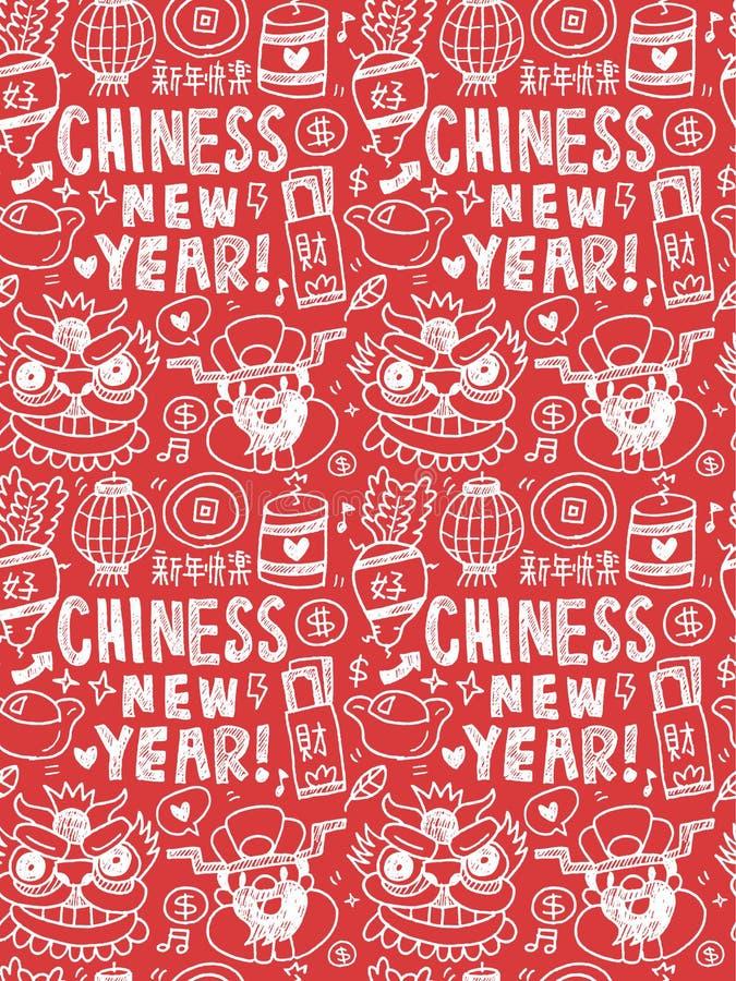 Kinesisk för beståndsdelklotter för nytt år dragen linje symbol, eps10 hand