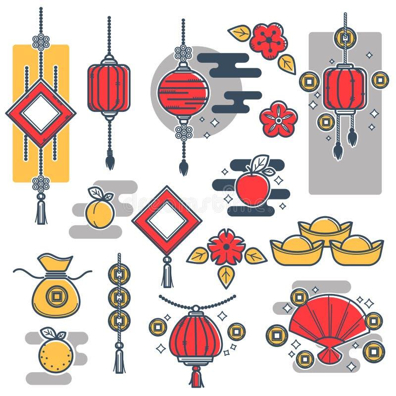 Kinesisk för garneringsymboler för nytt år lykta för vektor, symboler för guld- mynt stock illustrationer
