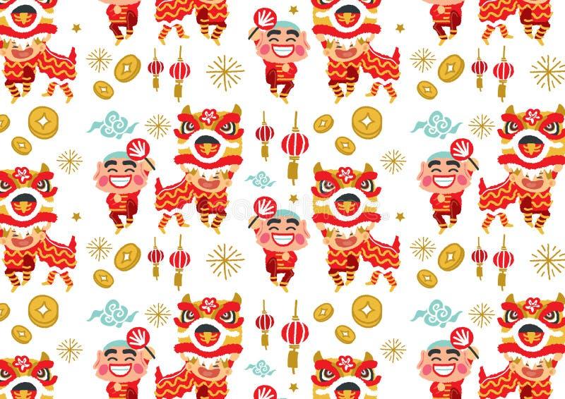Kinesisk för Lion Dancing för nytt år modell vektor royaltyfri illustrationer