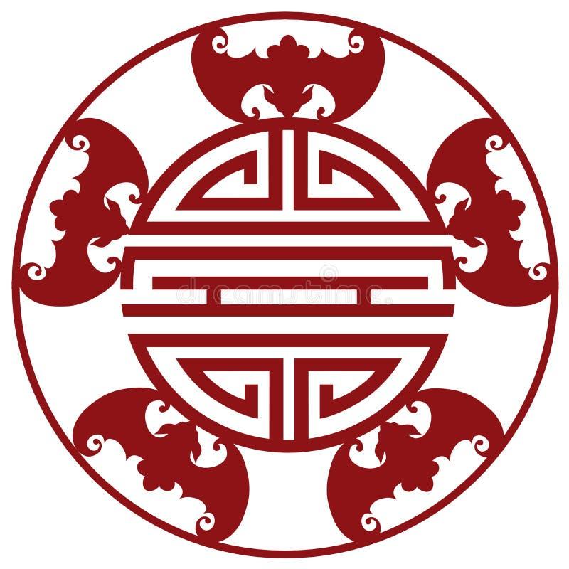 Kinesisk för välsignelsesymboler för livslängd fem illustration för vektor stock illustrationer