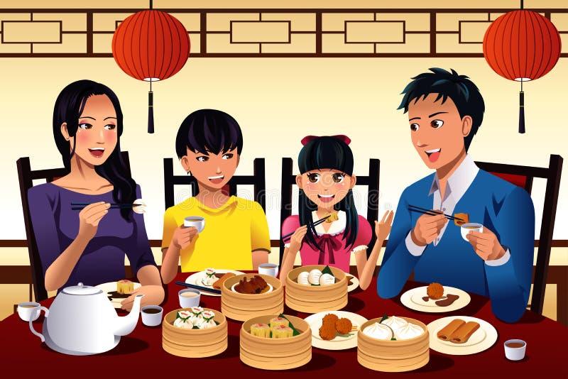 Kinesisk familj som äter dim sum royaltyfri illustrationer