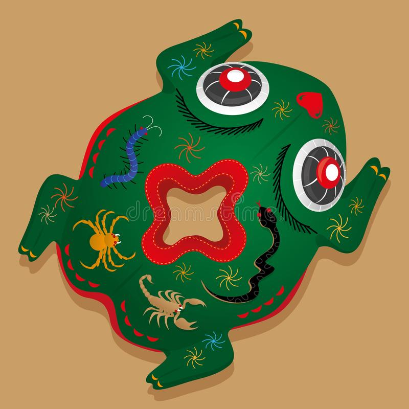 Kinesisk fem gift padda-formad kudde stock illustrationer