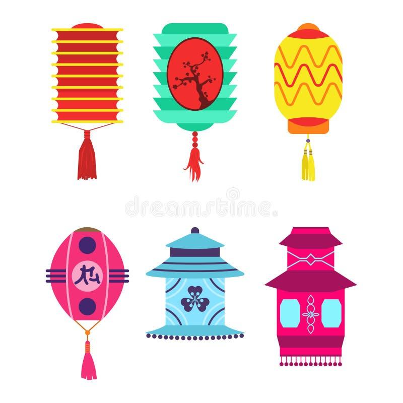 Kinesisk ferie för papper för uppsättningen för lyktasamlingsvektorn firar det grafiska kinesiska berömtecknet vektor illustrationer
