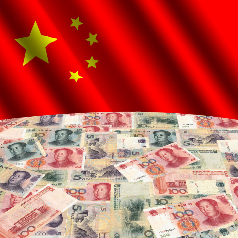kinesisk flagga yuan stock illustrationer