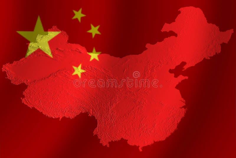 kinesisk flaggatopografi royaltyfri illustrationer
