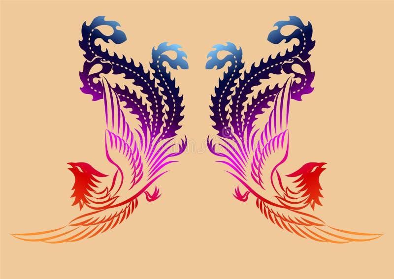 Kinesisk forntida phoenix modell vektor illustrationer