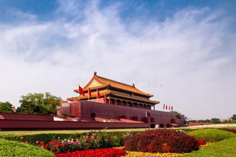 Kinesisk forntida plats för klassikerPekingTiananmen natt arkivfoto