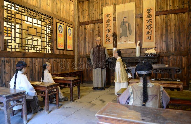 Kinesisk gammal-stil privatskola arkivfoto