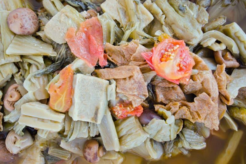 Kinesisk grönsakragu vid thailändskt folk & x28; JabChai stew& x29; royaltyfria bilder