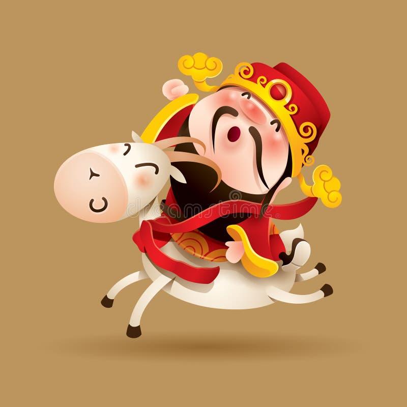 Kinesisk gud av rikedom och geten royaltyfri illustrationer