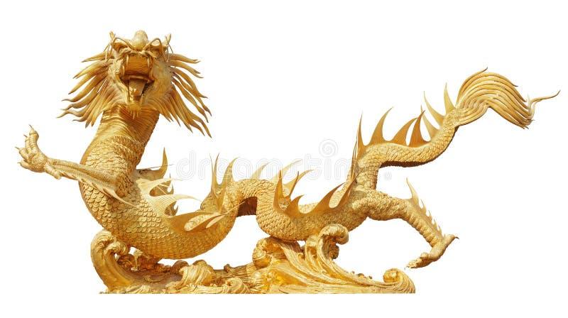 Kinesisk guld- drake arkivbilder