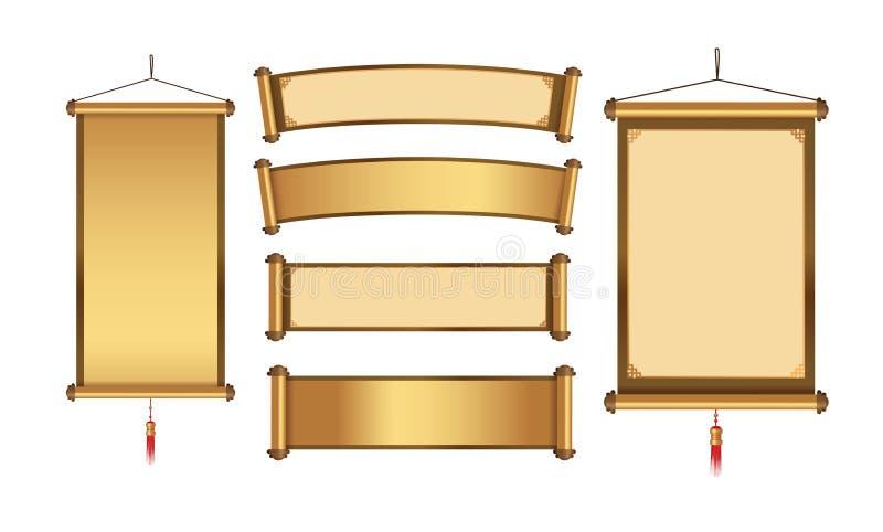 Kinesisk hängande banersamling i guld- tema stock illustrationer