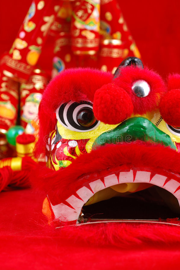 kinesisk head lion arkivfoto