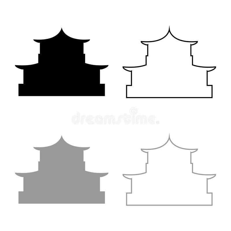 Kinesisk hemsilhuett Traditionell asiatisk pagoda Japansk katedral Facade-ikon kontur för svart gråfärgvektor vektor illustrationer
