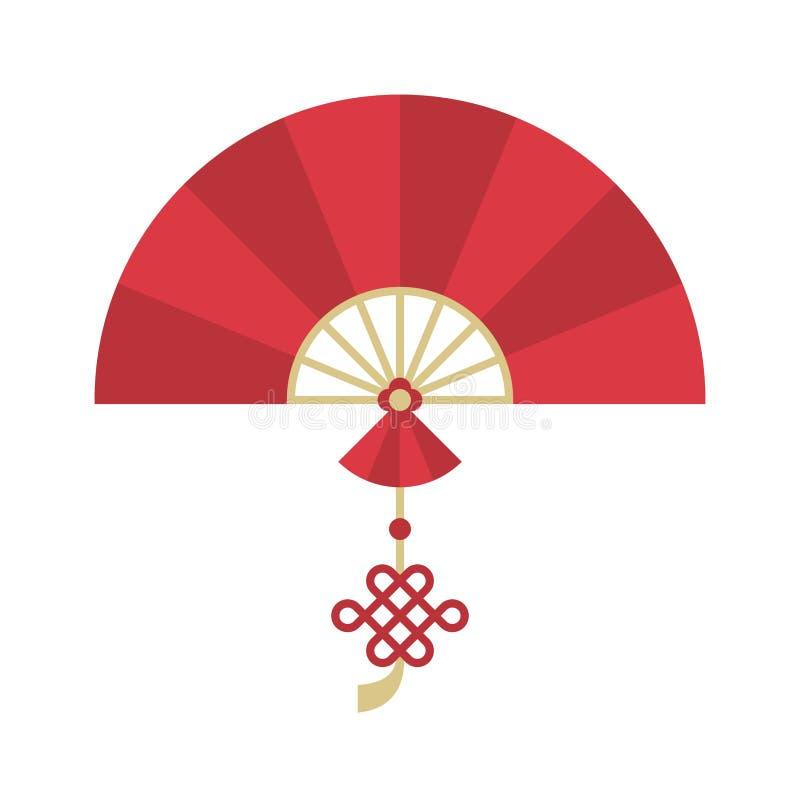 Kinesisk hopfällbar handheld fan med den kinesiska fnuren för mån- nytt år vektor illustrationer