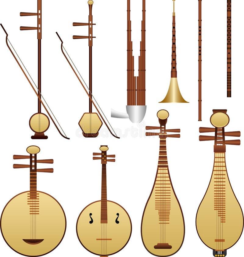 kinesisk instrumentmusik stock illustrationer
