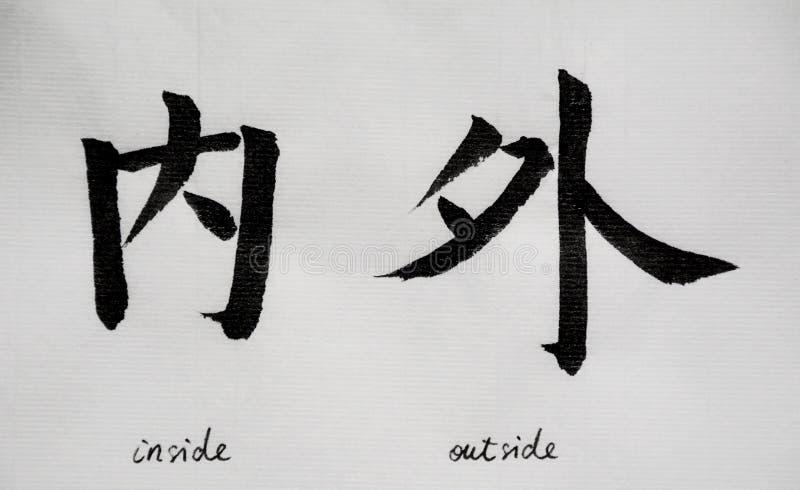 Kinesisk kalligrafi betyder ` inom utvändig ` för Tatoo fotografering för bildbyråer
