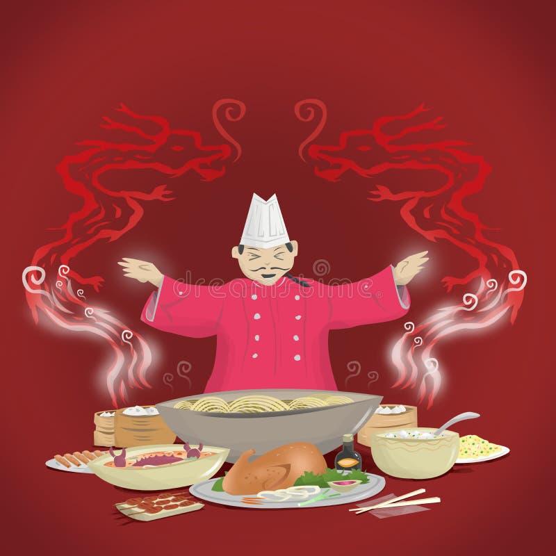 Kinesisk kokkonst och kock med rök som bildar in i drakar royaltyfri illustrationer