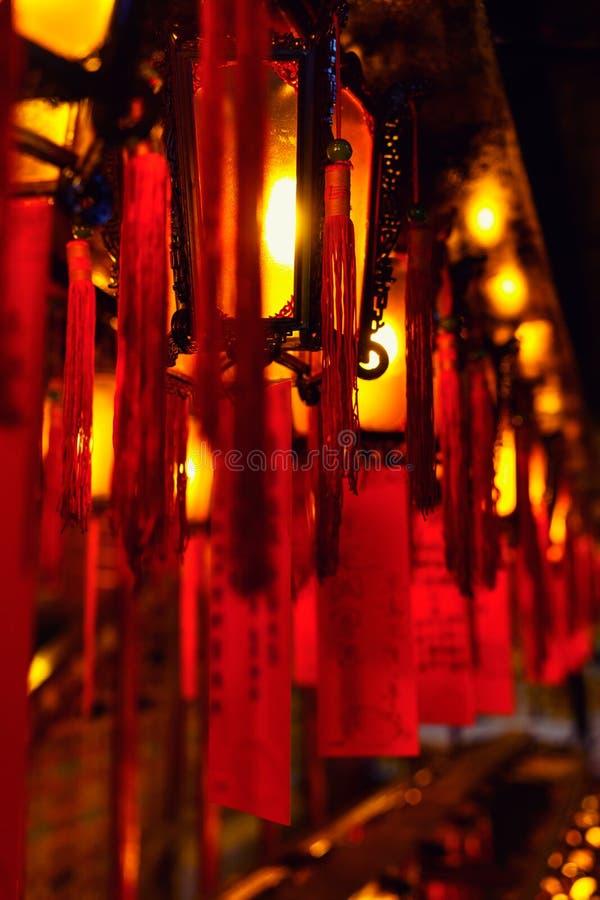 Kinesisk lykta av mannen Mo Temple Hong Kong arkivfoto