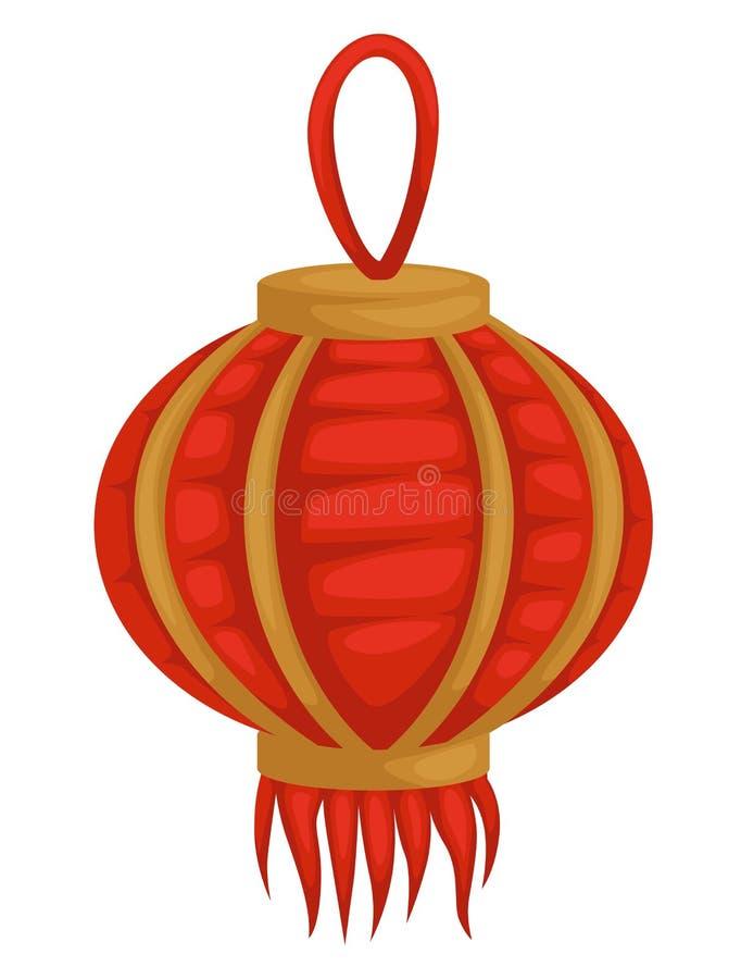 Kinesisk lykta isolerad orientalisk lampa eller ljuskrona för objekt stock illustrationer