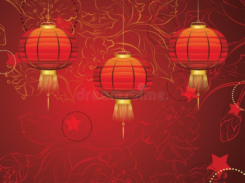 Kinesisk lykta med blommor stock illustrationer