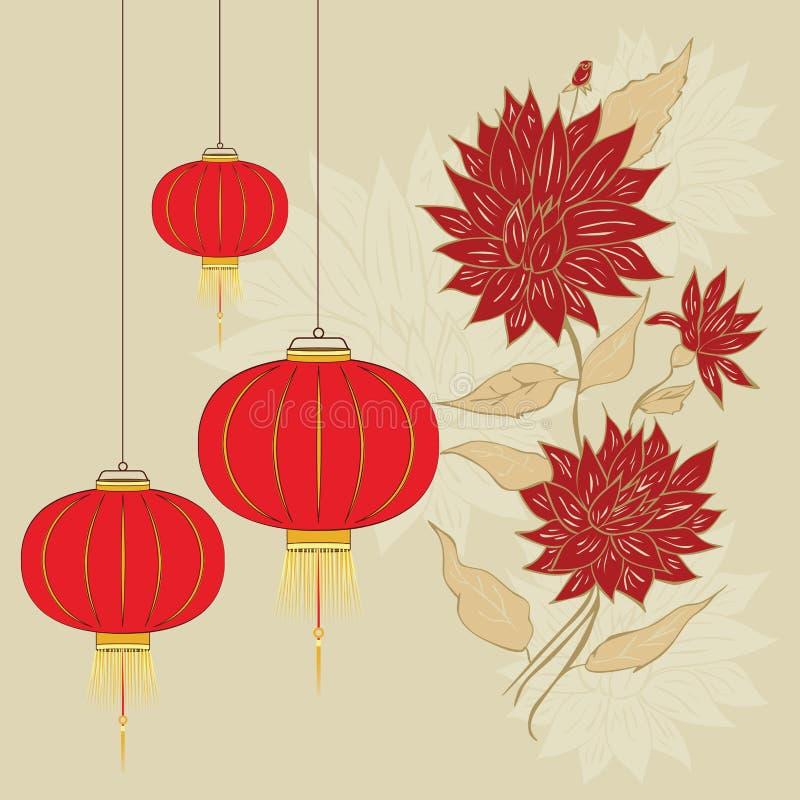 Kinesisk lykta med blommor royaltyfri illustrationer