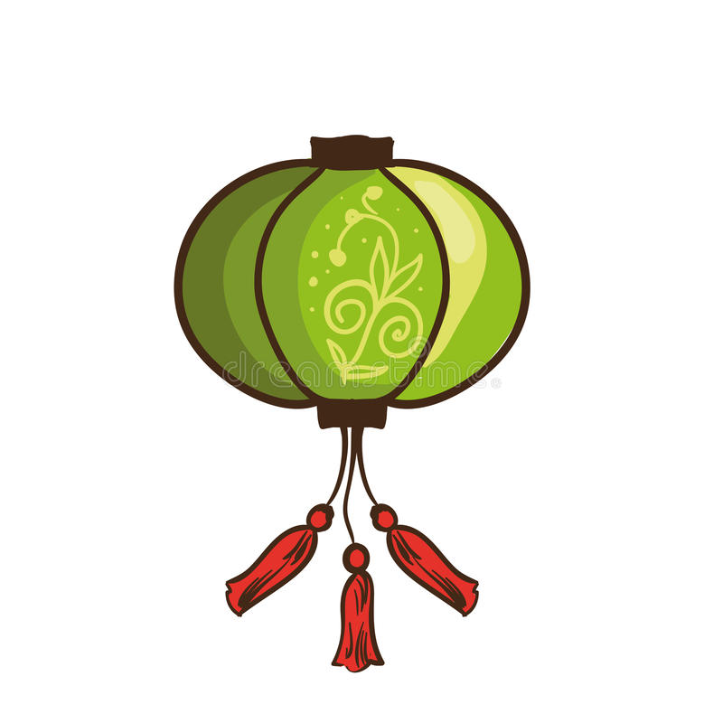 kinesisk lykta också vektor för coreldrawillustration stock illustrationer