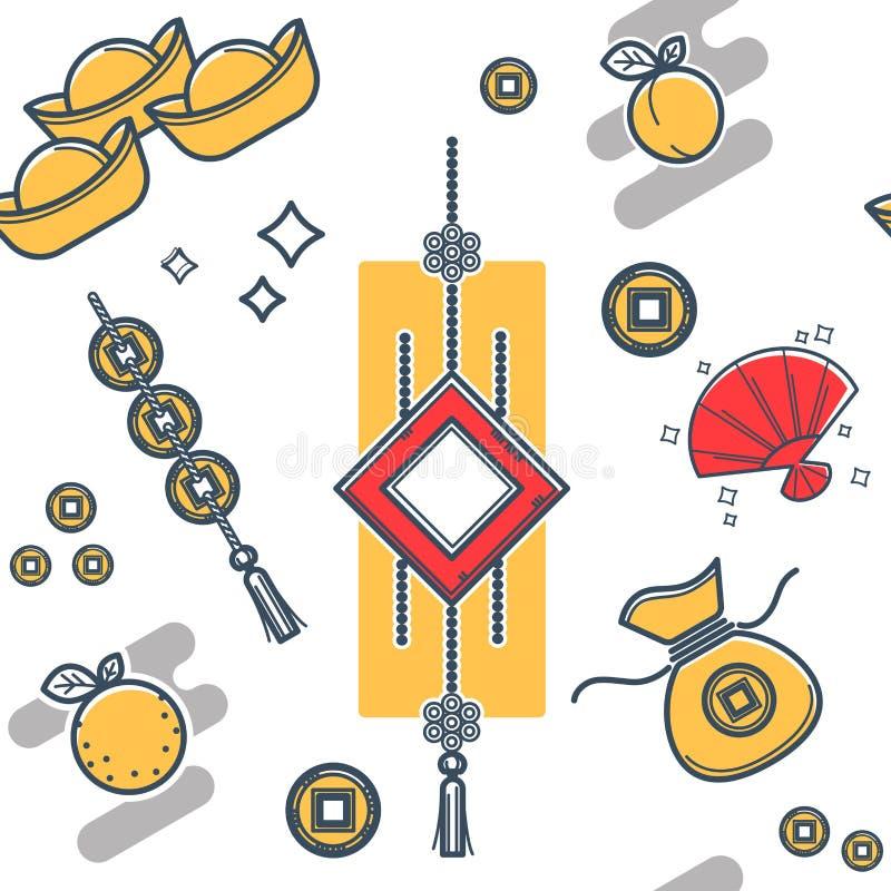 Kinesisk lykta som göras av legitimationshandlingar, sömlös orientalisk stil stock illustrationer