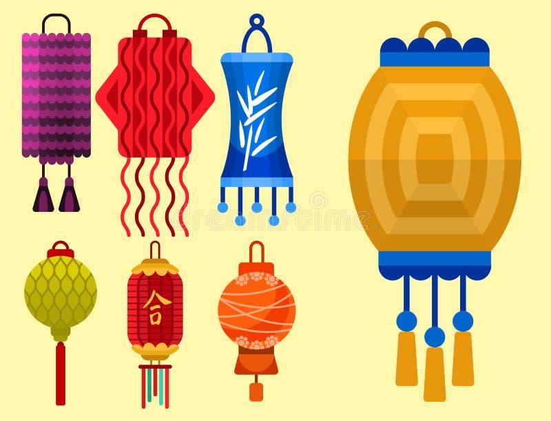 Kinesisk lyktapappersferie firar den grafiska illustrationen för berömlampvektorn royaltyfri illustrationer