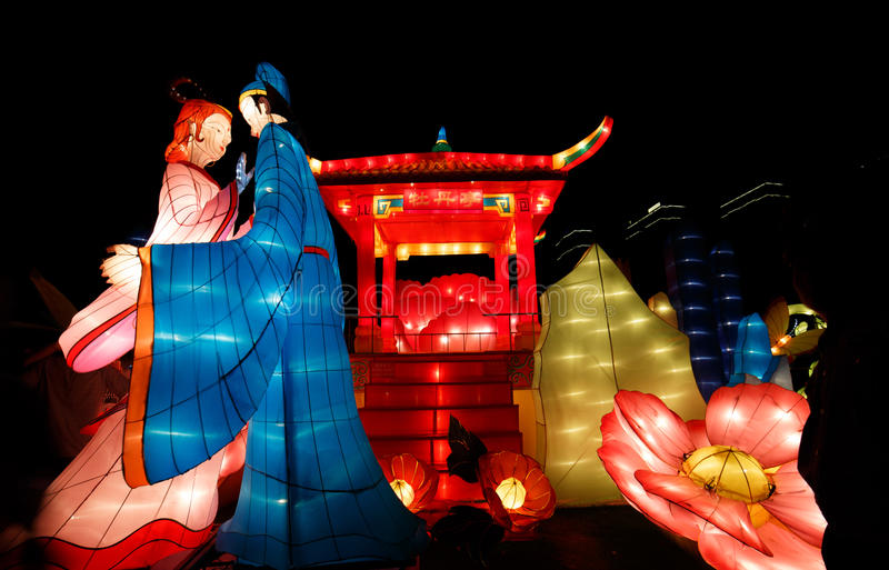 Kinesisk lyktashow royaltyfria bilder