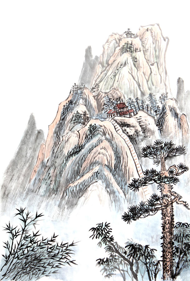 Kinesisk målning av det höga berget royaltyfria bilder
