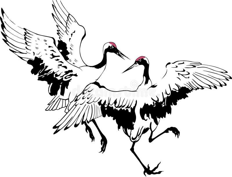 Kinesisk målning av två dansa kranar stock illustrationer