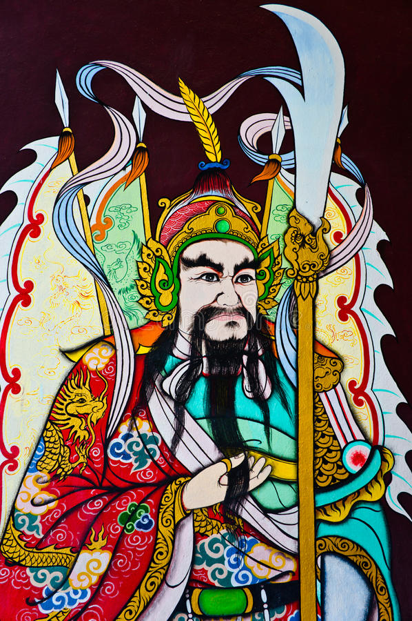 kinesisk målningsväggkrigare arkivfoton