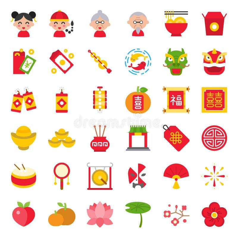 Kinesisk mån- symbol för nytt år med kinesiskt alfabet av Fu och XI och att betyda lycka och dubbel lycka Plan symbol royaltyfri illustrationer