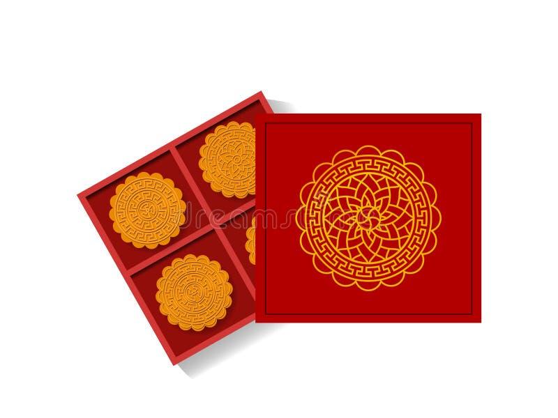 Kinesisk månekaka i den öppnade gåvaasken, bästa sikt, vektor stock illustrationer