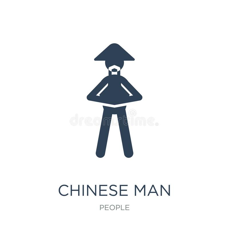 kinesisk mansymbol i moderiktig designstil kinesisk mansymbol som isoleras på vit bakgrund kinesisk modern manvektorsymbol som är stock illustrationer