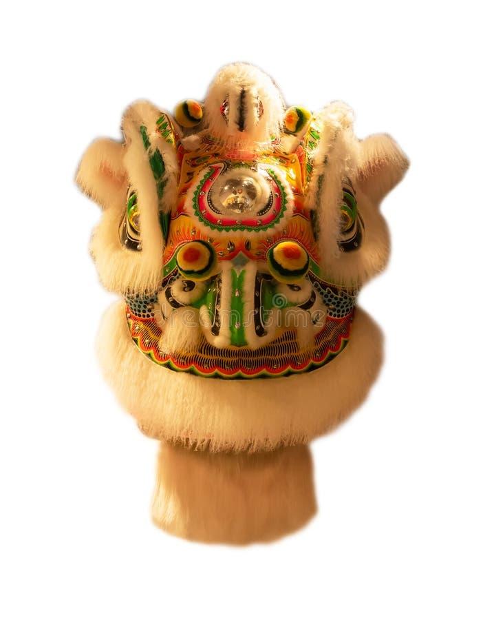 Kinesisk maskering för huvud för lejondans som isoleras på vit bakgrund, gul kinesisk stil royaltyfria bilder